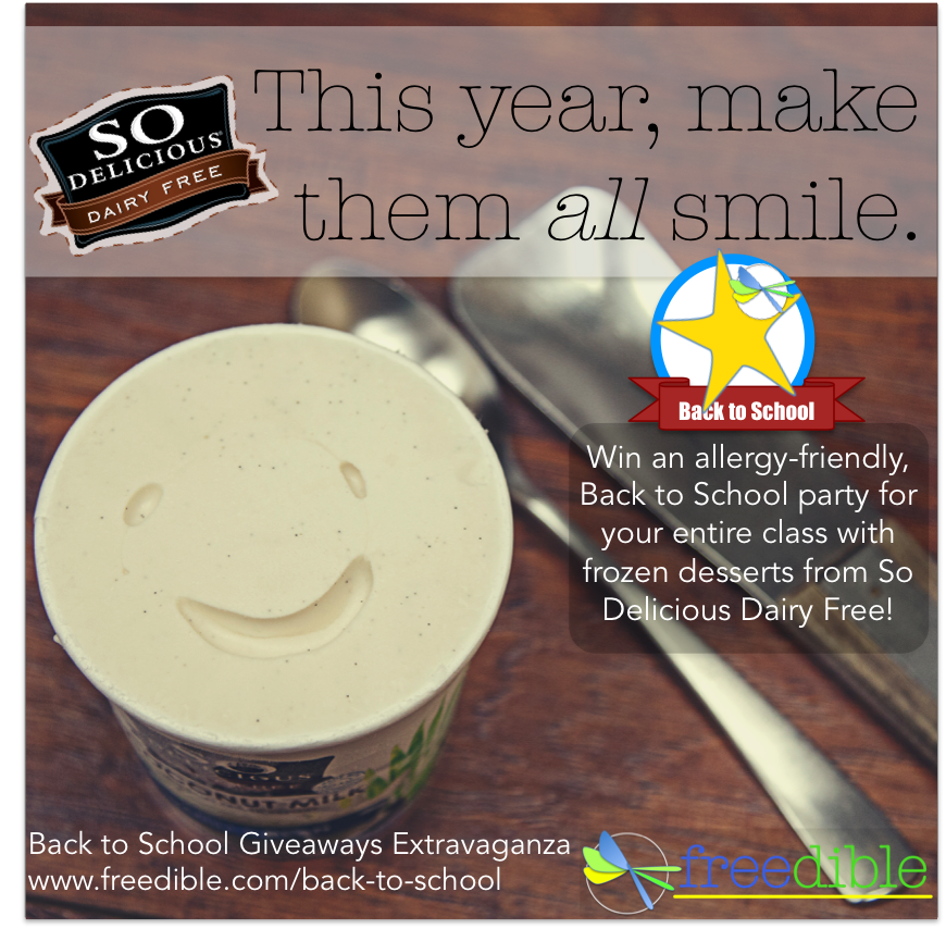 Win an Allergy-Friendly Back to School Party for the Whole Class, with frozen desserts from So Delicious Dairy Free!