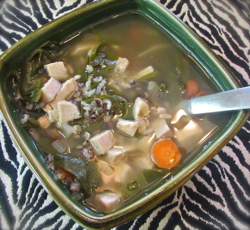 d19aefb06e6c32fe01fdcd3d.jpg - It's snowing in Southern Colorado and my kiddos have colds. Created a super fast soup using previously made bone broth, chopped organic chicken, wild rice and veggies I had on hand. #GlutenFree #DairyFree #Organic