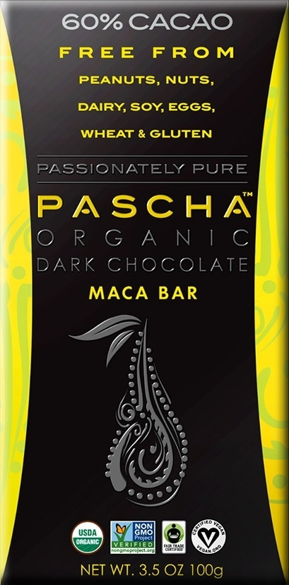 2d9f0b055d1e1907ffba671c.jpg - 60% cacao with maca. peruvian chocolate. free from peanuts,  nuts, dairy, soy, eggs, wheat & gluten.