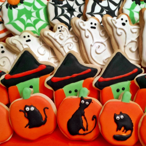 Decorated Halloween Cutout Cookies