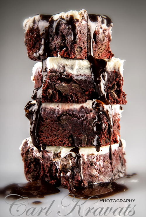 Double Fudge Espresso Brownies with Vanilla Frosting