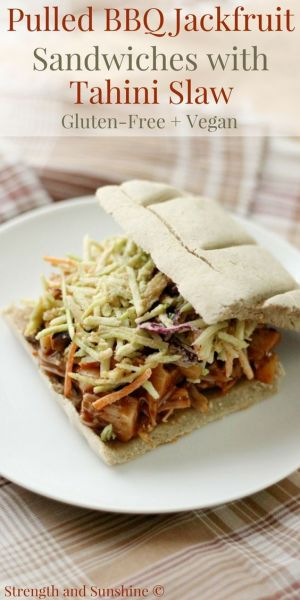 Pulled BBQ Jackfruit Sandwiches with Tahini Slaw