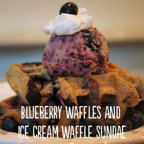 Blueberry Waffles with Ice Cream