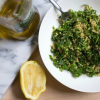 Toasted Quinoa Massaged Kale And Vegan Parmesan Salad