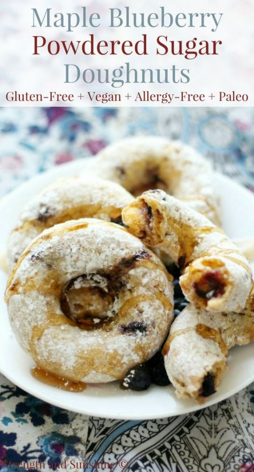 Maple Blueberry Powdered Sugar Doughnuts