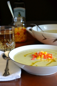 Zucchini Vichyssoise with Quick Sweet Corn Relish